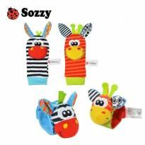 Kit de 4 pçs, de meias e pulseiras interativas com chocalho em cores vibrantes.