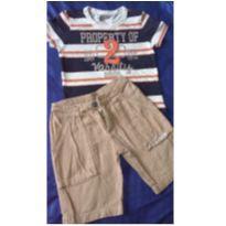 Conjunto c/2 peças - T-shirt + Short Sarja - 1 ano - Tigor T.  Tigre e Trm Bros