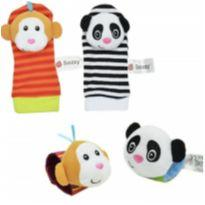 Kit de 4 pçs, de meias e pulseiras interativas em cores vibrantes - PANDA/MACACO -  - Sozzy