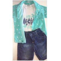 Conjunto c/3 peças: Camisa, Regata e Short Jeans, LINDO! - 3 anos - DNM