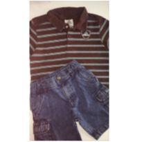 Conjunto c/2 peças - Polo ADIDAS + Short Jeans CARTER`S - 3 anos - Adidas e Carter`s