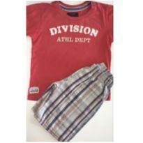 Conjunto c/2 peças - T-Shirt + Short Xadrez em Sarja - 3 anos - Bnn kids e Pulla Bulla