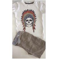 Conjunto c/2 peças - T-Shirt CACIQUE + Short Tactel - 3 anos - Póim e sem etiqueta