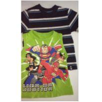 Kit c/2 peças - T-Shirt Listrada + Regata Liga da Justiça - 3 anos - Gymboree e sem etiqueta