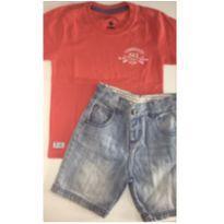 Conjunto c/2 peças - T-Shirt + Short Jeans - 3 anos - Banana Danger e Tigor T.  Tigre