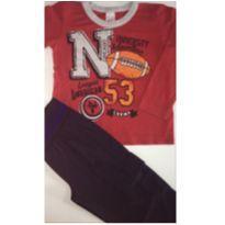Conjunto c/2 peças - Camisa ML + Calça Poliéster - 3 anos - Kontrato Confecções e sem etiqueta