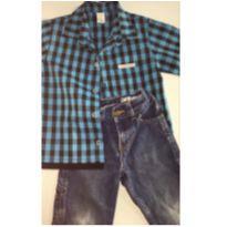 Conjunto c/2 peças - Camisa Xadrez + Calça Jeans CARTER`S - 3 anos - Carter`s e sem etiqueta
