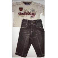Conjunto c/2 peças - Camiseta ML + Calça Jeans - 3 a 6 meses - Saras - USA e Piang Pee