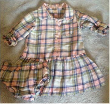 Vestido bata xadrez - 9 meses - OshKosh