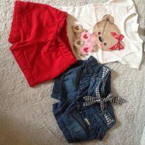Conjunto mais shortinho jeans - 9 a 12 meses - Elian