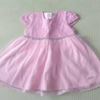 Vestido de festa rosa + casaquinho - 0 a 3 meses - Paraíso