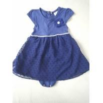Vestido Body com aplique flor e cinto pérolas - 9 meses - Milon