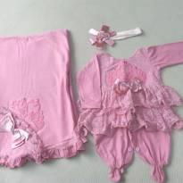Saída Maternidade vestido renda - Recém Nascido - DJIELE