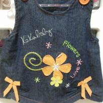 Jardineira Jeans detalhes Laranja - 0 a 3 meses - Keko Baby
