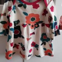 Vestido manga comprida de flores - 3 a 6 meses - Hering Baby