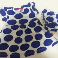 vestido Poá Azul PUC - 6 a 9 meses - PUC