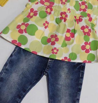 Conjunto calça jeans + bata Gymboree + faixa gorgurão - 1 ano - Gymboree