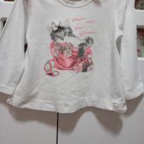 Camiseta / blusa manga comprida Gatinha - 12 a 18 meses - Não informada