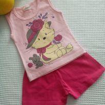 Conjunto shorts rosa - 1 ano - Não informada