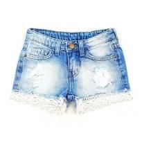 Short Jeans com Barra de Renda Zara