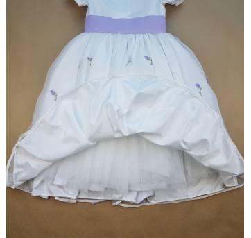 Vestido de Dama Branco e Lilás - 8 anos - Costureira
