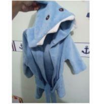 Roupão Felpudo Azul Tubarão - 2 anos - Não informada