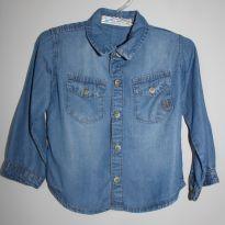 Camisa manga longa jeans - 6 a 9 meses - Polo Wear