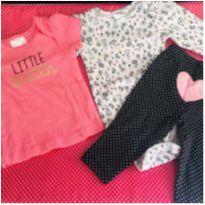 Trio Body + calça + camiseta COM MARCAS DE USO - DETALHES NA DESCRIÇÃO - 3 a 6 meses - Child of Mine