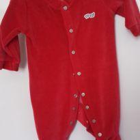 Macacão em plush vermelho - 0 a 3 meses - Tip Top