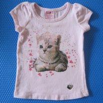 Camiseta Gatinha - 0 a 3 meses - Duduka