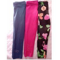 Kit com 3 calças legging - 4 anos - Variadas