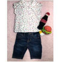 Conjuntinho (super descolado) de calça jeans Baby Gap e Blusinha Janie and Jack - 3 a 6 meses - Baby Gap e Janie and Jack