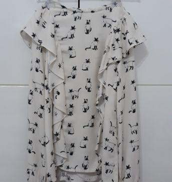 Camisa / Bata com babados e  gatinhos - Zara Girls T. 11/12 - 12 anos - Zara