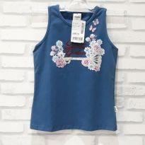 Camiseta Regata Azul com flores -  Elian - Nova com etiqueta T.8 - 6 anos - Elian