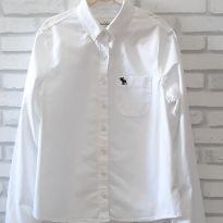 Camisa Branca  Manga Longa - Abercrombie Kids - T.L - 7 anos - Abercrombie