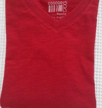 Camiseta manga longa vermelha - T. 10 - Puc - 8 anos - PUC