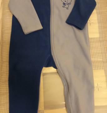 Macacão pijama azul com pezinho P - 6 a 9 meses - Tex