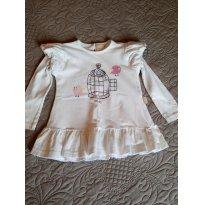 Blusa bata manga Longa com cotton - Veste dos 12 aos 24 Meses - 1 ano - Não informada