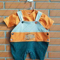 Conjunto - Jardineira e camiseta - 3 meses - Mamãe Lua