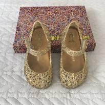 Sapatilha Mini Melissa Campana - Dourada com Prata - Tamanho 19 - 19 - Melissa