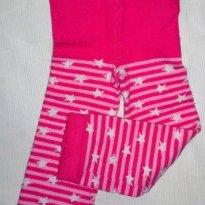 Meia calça listras rosa/branco - 6 meses - Lupo