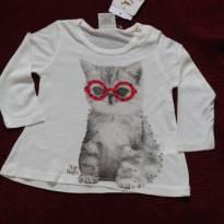 NOVO1263 Camiseta gatinho fashion - 3 a 6 meses - Up Baby