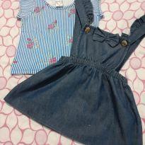 Conjunto blusa e salopete jeans - 3 meses - Boca Grande