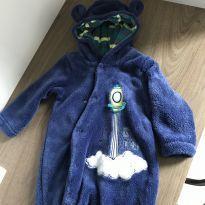 Macacão com capuz urso plush - 3 a 6 meses - Tip Top