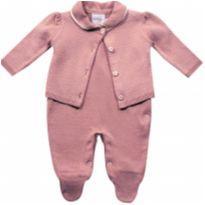 Conjunto Macacão bebê longo e bolero rosê - Tamanho P - NUNCA USADO - 3 a 6 meses - Noruega