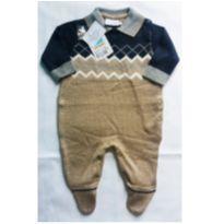 Macacão bebê manga longa em tricô masculino bege - Tamanho M - NUNCA USADO - 6 a 9 meses - Noruega