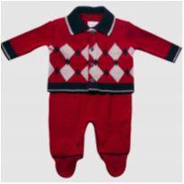 Conjunto Macacão bebê longo e casaco masculino carmim - Tamanho P - NUNCA USADO - 3 a 6 meses - Noruega