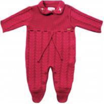 Macacão bebê manga longa em tricô feminino vermelho- NUNCA USADO - Tamanho M - 6 a 9 meses - Noruega
