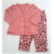 Conjunto de moletom, casaco rosa e calça - NUNCA USADO - Tamanho G - 9 a 12 meses - Planeta pano
