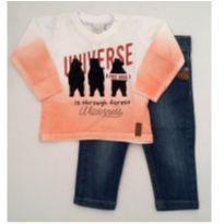 Conjunto camiseta laranja e calça jeans - NUNCA USADO - Tamanho G - 9 a 12 meses - Planeta pano